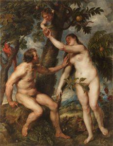 La tentación de Adán y Eva. Pedro Pablo Rubens (copia de Vecellio di Gregorio Tiziano) Museo del Prado