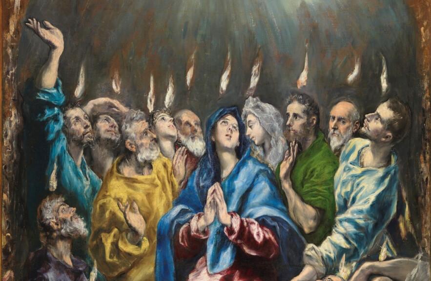 Pentecostés (detalle), El Greco, Museo del Prado.